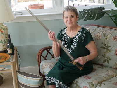 Lesley with William Wallace's Civil War sword.
