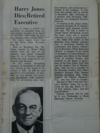 Harry Jones obituary.