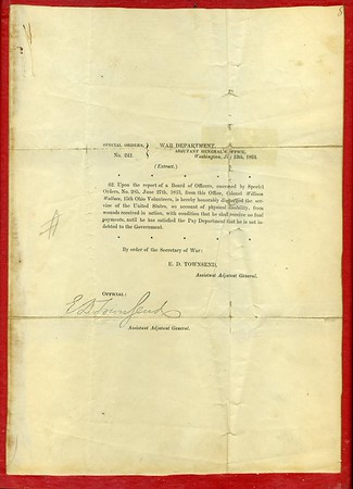 William Wallace's Civil War letter of discharge.