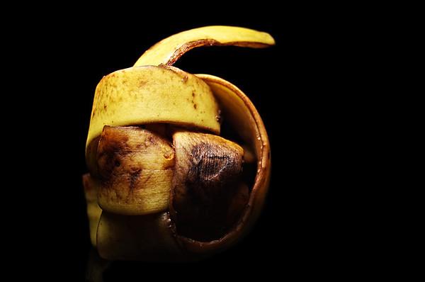 banana peeled and twisted