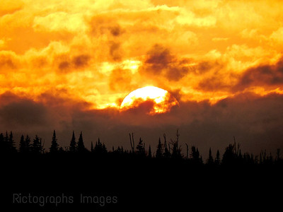 The Sun Setting Over The Boreal Forest, Rictographs Images