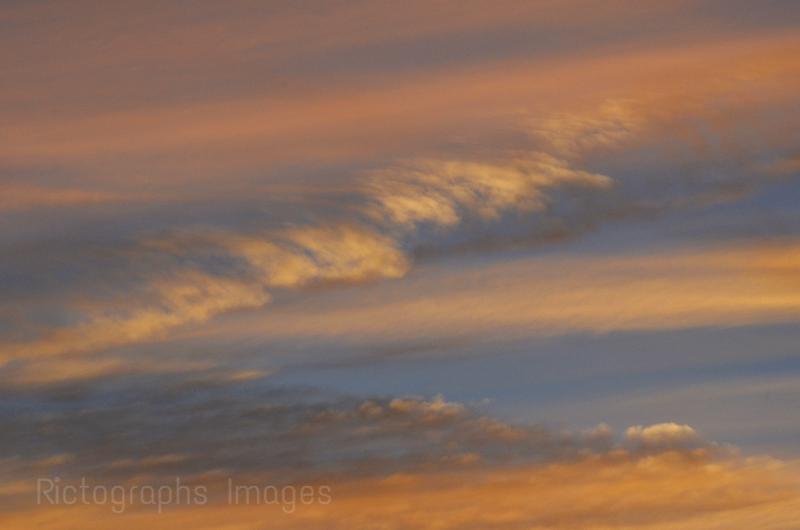 Sunset Skies, Orange, Blue,