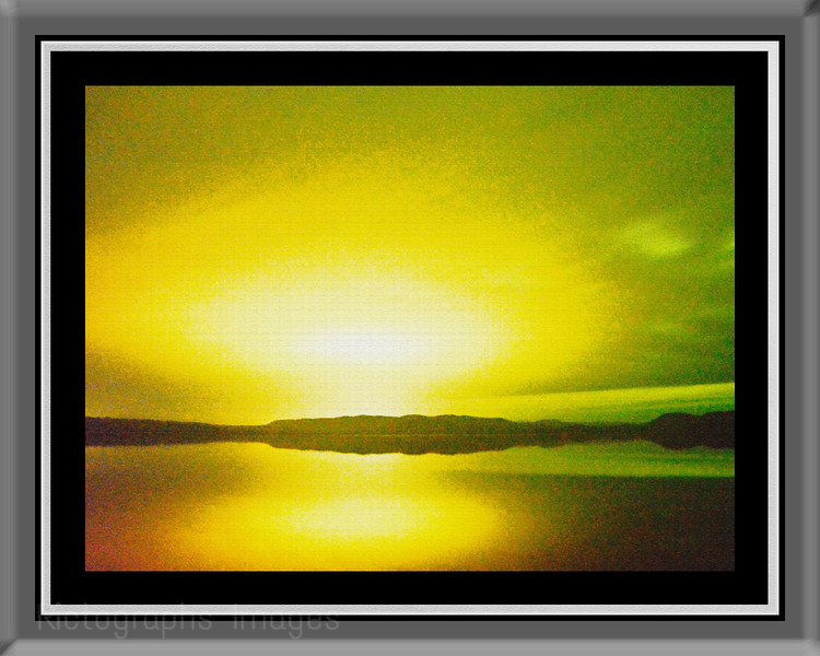 Frame 8 X 10in, Rictographs Images, Sun Setting At Hayes Lake, Summer 2015