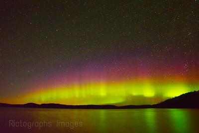 Aurora Borealis Over Hayes Lake, Schreiber, Ontario, Canada
