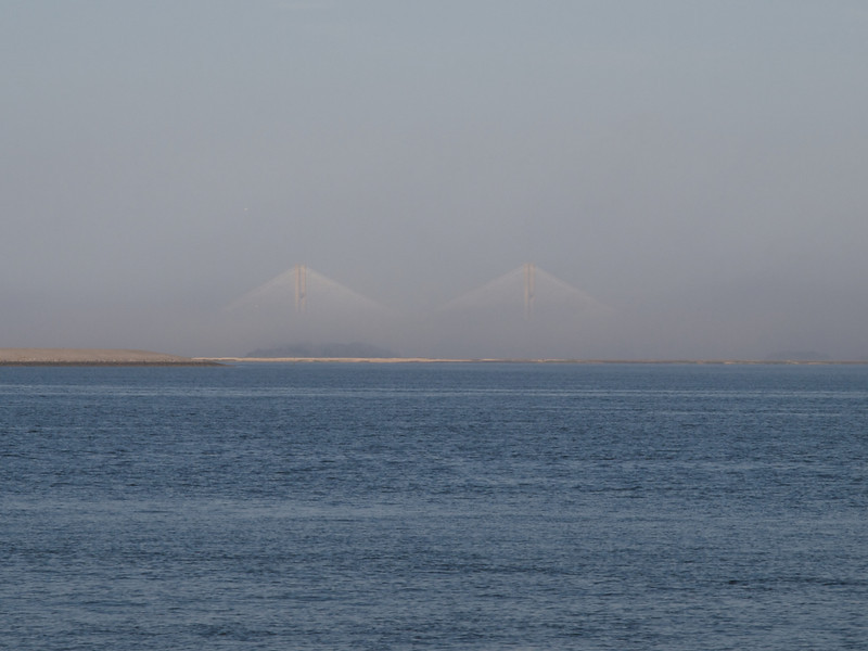 Sidney Lanier Bridge in fog, connecting Jekyll Island to the mainland.