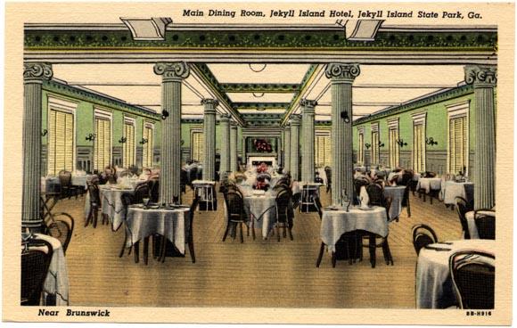 Jekyll Island Club dining room. Undated post card. Jekyll Island, Georgia