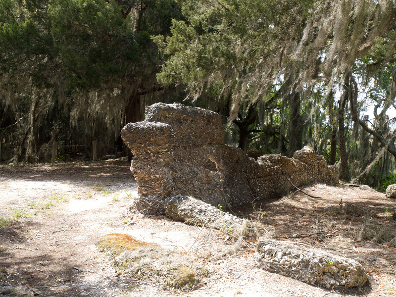 Tabby house ruins. Tabby is the building material of sand, lime, oyster shells, and water. Jekyll Island, Georgia