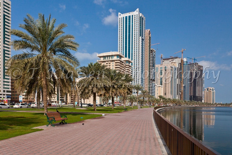 High rise buildings on the lagoon in Sharjah, UAE.