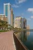 High rise buildings on the lagoon in Sharjah, UAE.