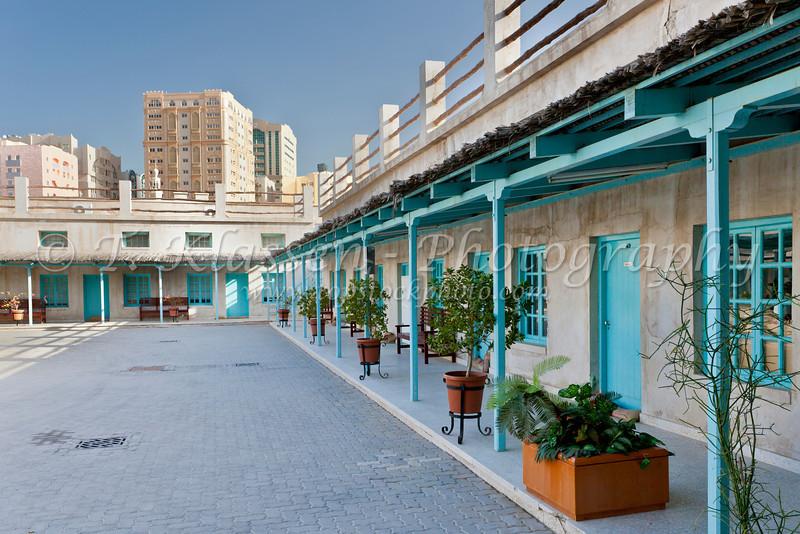 Exterior view of the barracks at the Al Mahatta Museum in Sharjah, UAE.