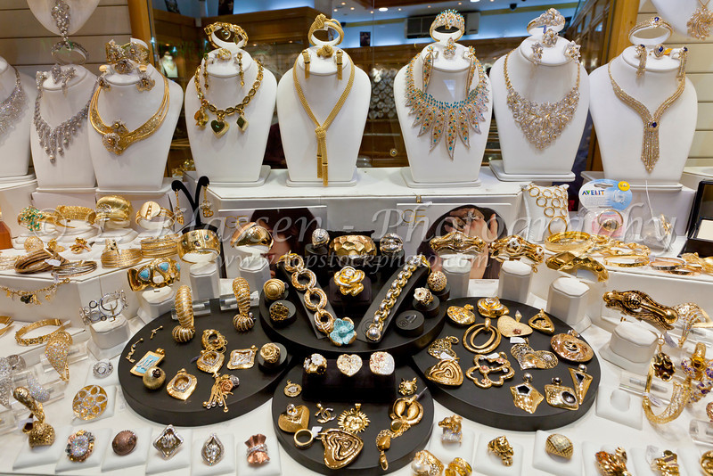 Closeup display of jewelry at the gold shops in the Blue Souq of Sharjah, UAE.