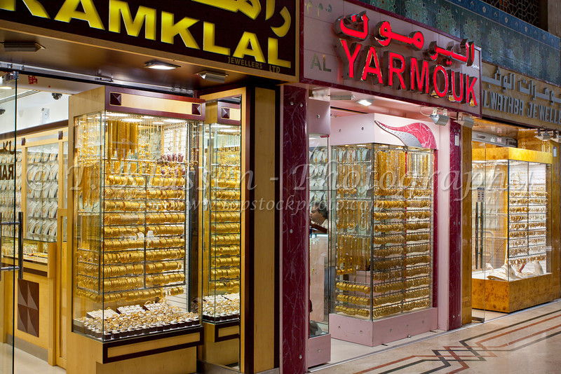 Gold shops in the Blue Souq of Sharjah, UAE.