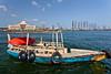 An old wooden boat at Port Khalid in Sharjah, UAE.