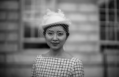 Fashion blogger with unusual hat