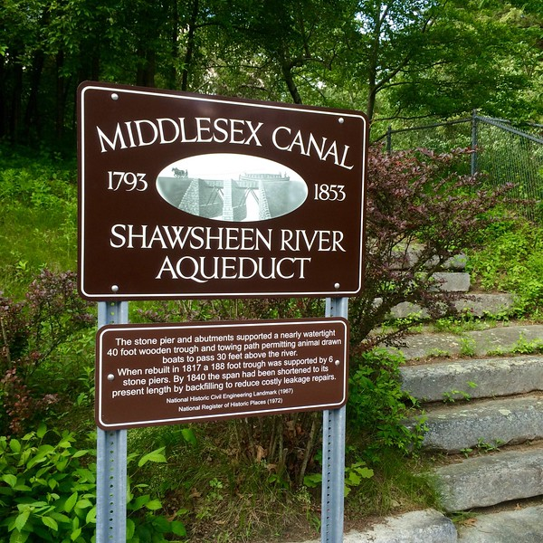At the town line of Wilmington and Billerica  on Shawsheen Road stands the remains of the  Middlesex Canal's Shawsheen River Aqueduct (ca. 1802). This structure carried the canal over the Shawsheen Riverr. First built in 1797 of wood, the aqueduct rose 35 feet above the river and spanned 140 feet between the abutments. When the wooden structure was rebuilt in stone during the summer of 1817 traffic was interrupted for six weeks, according to the Middlesex Canal Association. -- photo by Mary Leach