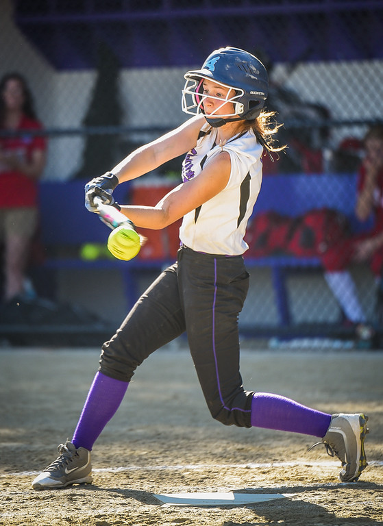 . Shawsheen Tech\'s, Rebecca Smith, fouls off a pitch in a game against Innovation Academy Monday afternoon in Billerica.  Shawsheen took the game in 5 innings, 12-0.  Photo:  SUN/Scot Langdon