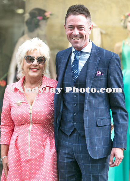 EEjob 13/04/2017 SOCIAL Sheena's Boutique, Oliver Plunkett Street, Customer evening of opera and glamour fashion show.  Pictured outside Sheena's Boutique, Oliver Plunkett Street,  from  Saville Menswear Cork, Pamela O'Reagan and Andy O'Brien.  Picture: Andy Jay
