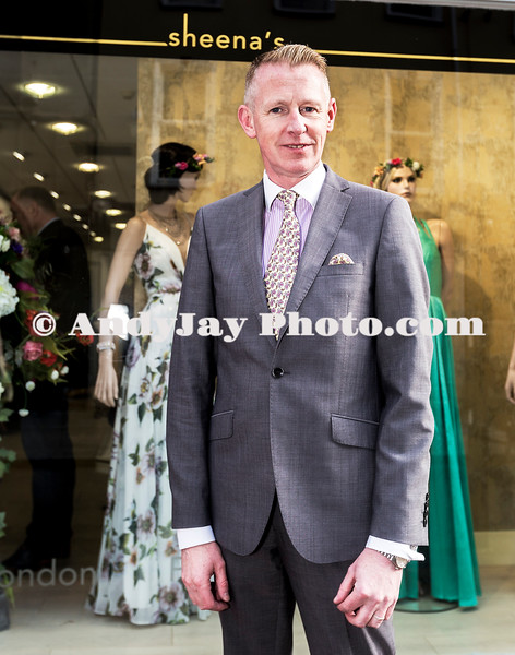 EEjob 13/04/2017 SOCIAL Sheena's Boutique, Oliver Plunkett Street, Customer evening of opera and glamour fashion show.  Pictured outside Sheena's Boutique, Oliver Plunkett Street , from Hi Magazine, Michael Mulcahy.  Picture: Andy Jay