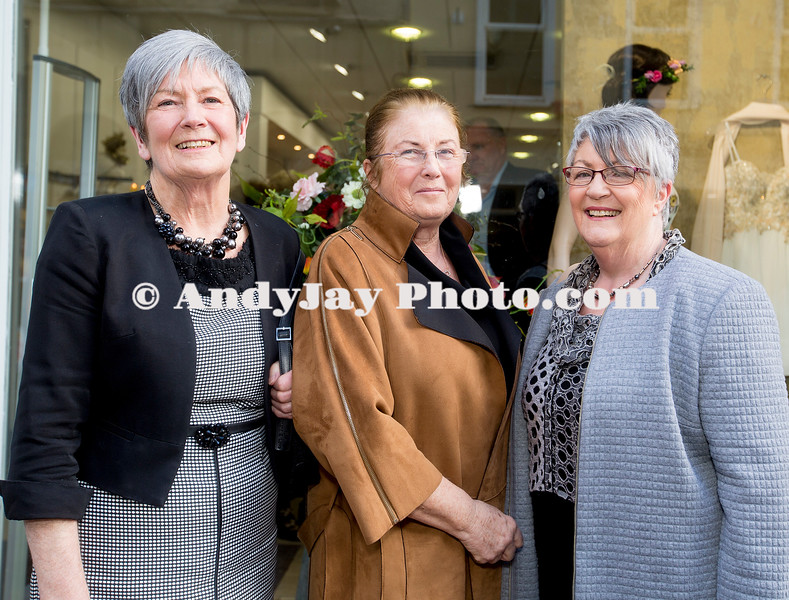EEjob 13/04/2017 SOCIAL Sheena's Boutique, Oliver Plunkett Street, Customer evening of opera and glamour fashion show.  Pictured l-r Helen Scanlon, Carmel McSweeney, Pam Cusack from Midleton.  Picture: Andy Jay