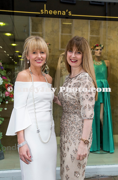 EEjob 13/04/2017 SOCIAL Sheena's Boutique, Oliver Plunkett Street, Customer evening of opera and glamour fashion show.  Pictured outside Sheena's Boutique, Oliver Plunkett Street l-r  Boutique owner Sheena with Soprano singer Sandra Oman.  Picture: Andy Jay