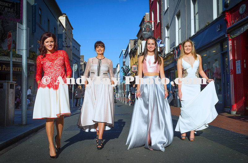 EEjob 13/04/2017 SOCIAL Sheena's Boutique, Oliver Plunkett Street, Customer evening of opera and glamour fashion show.  Pictured after the event the Models walk oliver Plunkett Street . l-r Jenifer Thompson, Eileen Haly, Shannon Helly and Leah Tuogh. Picture: Andy Jay