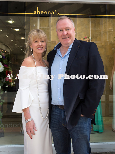 EEjob 13/04/2017 SOCIAL Sheena's Boutique, Oliver Plunkett Street, Customer evening of opera and glamour fashion show.  Pictured outside Sheena's Boutique, Oliver Plunkett Street,  Owner Sheena with her husband Tom.  Picture: Andy Jay