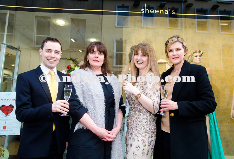EEjob 13/04/2017 SOCIAL Sheena's Boutique, Oliver Plunkett Street, Customer evening of opera and glamour fashion show.  Pictured outside Sheena's Boutique, Oliver Plunkett Street l-r Niall Kinsella Pianist on the evening, Jennifer O'Connell from the Lismore Opera Festival, Sandra Oman Soprano singer, Sandra Capeta Lismore Opera Festival.  Picture: Andy Jay