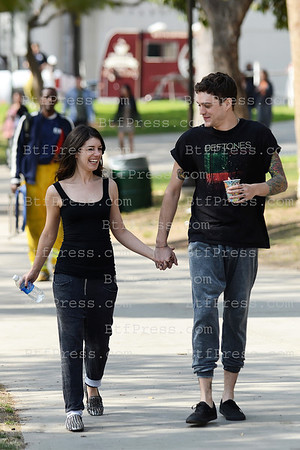 Shenae Grimes and Boyfriend Josh Beech during the set of 90210 in Los Angels, California.