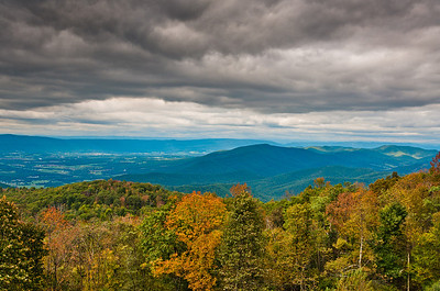 Early autumn view of the Appalachians from an overlook on Skyline Drive, Shenandoah National Park, Virginia.