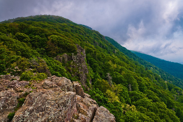 Dark clouds over Stony Man Mountain, in Shenandoah National Park, Virginia.