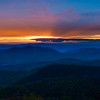 Colorful spring sunset over the Blue Ridge Mountains from Skyline Drive in Shenandoah National Park, Virginia.