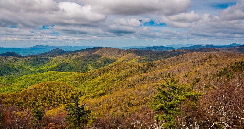 Early spring view of Appalachian Mountains from Blackrock Summit, Shenandoah National Park, Virginia