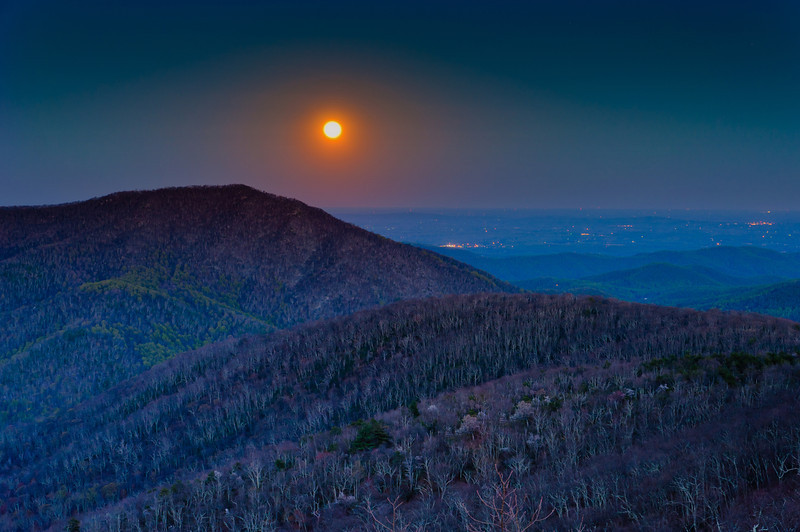 Moonrise over Piedmont, seen from Bearfence Mountain in Shenandoah National Park, VA