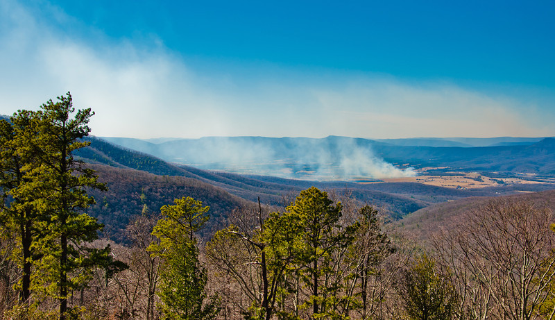 Forest fire smoke seen in the Shenandoah Valley, from Skyline Drive in Shenandoah National Park, Virginia.