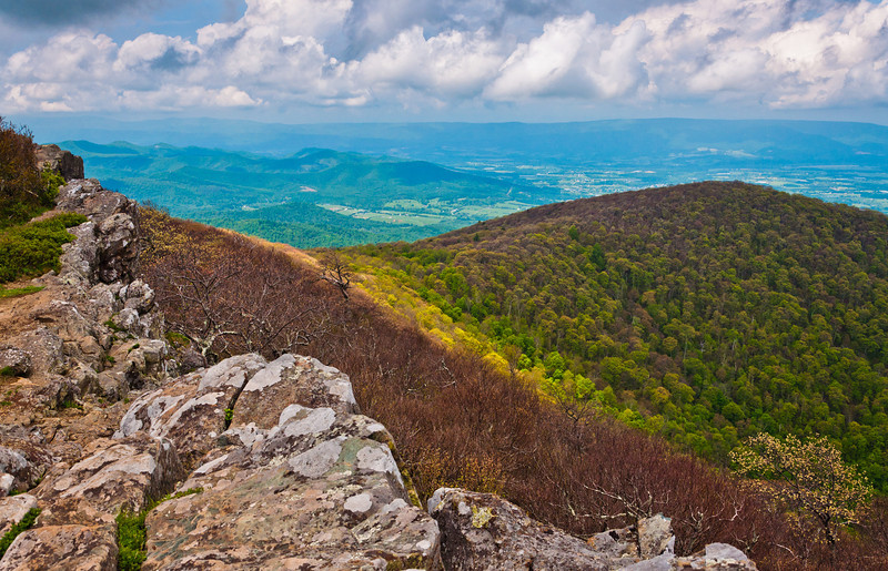 Early spring view from cliffs on Hawksbill Summit, Shenandoah National Park, Virginia