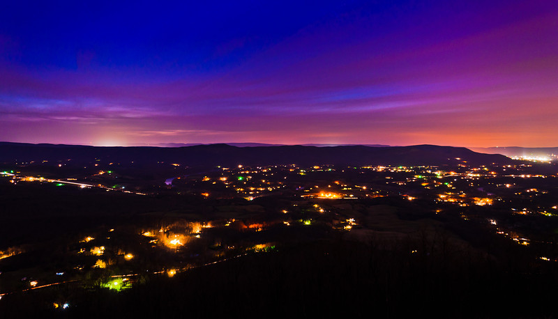 Long exposure of the Shenandoah Valley at night, from Skyline Drive in Shenandoah National Park, Virginia.