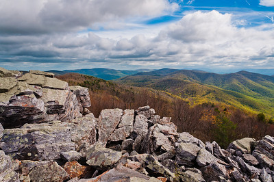 Early spring view of the Appalachian Mountains from Blackrock Summit, Shenandoah National Park, Virginia