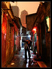 Taking pictures in a downtown Hutong.