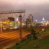 Train tracks and the city