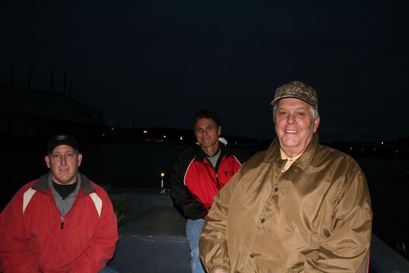 Leaving the dock before daylight, Andy Hausenfluke, Pastor John Foster, Fred Goble