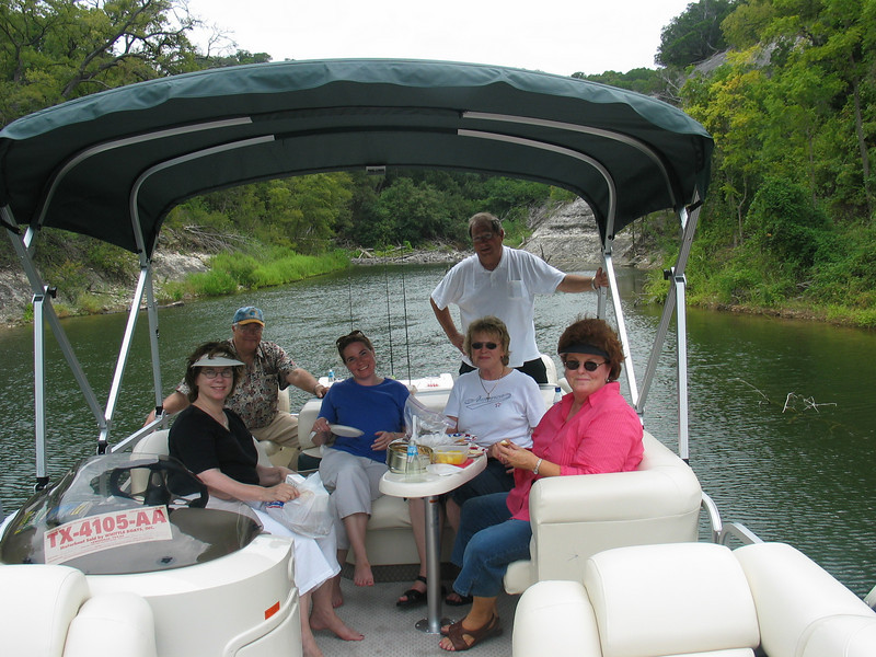 Shirley, far right, with friends on our boat, fall 2005