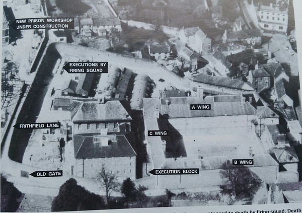 How the prison looked in 1971..on the left is the new blocks being built and where the Plant room is today used to have Nissen Huts on.For some reason unknown to me,A and B wings are named differently to today.