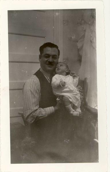 """""""Dean at  1 month with Daddy<br /> Novemeber 10, 1941<br /> 1 Magog Street<br /> Sherbrooke Quebec"""""""