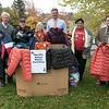 On Tuesday, Oct 22, 2019 while standing at the base of Wachusett Mountain along-side many community partners, Worcester County Sheriff Lew Evangelidis announced the kickoff of the 2019 Sheriff's Annual Winter Coat Drive for Worcester County. The Sheriff's Coat Drive is an annual event that provides new or lightly used winter coats to families in need throughout Worcester County and is a collaborative effort between the Sheriff's Office, Wachusett Mountain Ski Area, Worcester County Reserve Deputy Sheriff's Association, Warmer Winters Knitting Club, Twin City Cleaners of Dudley & Independent Cleaners of Fitchburg. From left showing off some the coats already collected is Co-owner of Wachusett Mountain Ski Area Jeff Crowley, Kevin Mclean of Our Fathers House in Fitchburg, Co-owner of Wachusett Mountain Ski Area Carolyn Crowley Stimpson, Sheriff Lew Evangelidis, President of Warmerwinters David Roth and Nicolas Formaggin from the leominster Spanish American Center. Nearly 4,000 winter coats are dispruted every year. SENTINEL & ENTERPRISE/JOHN LOVE