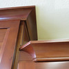 The molding on the kitchen cabinets