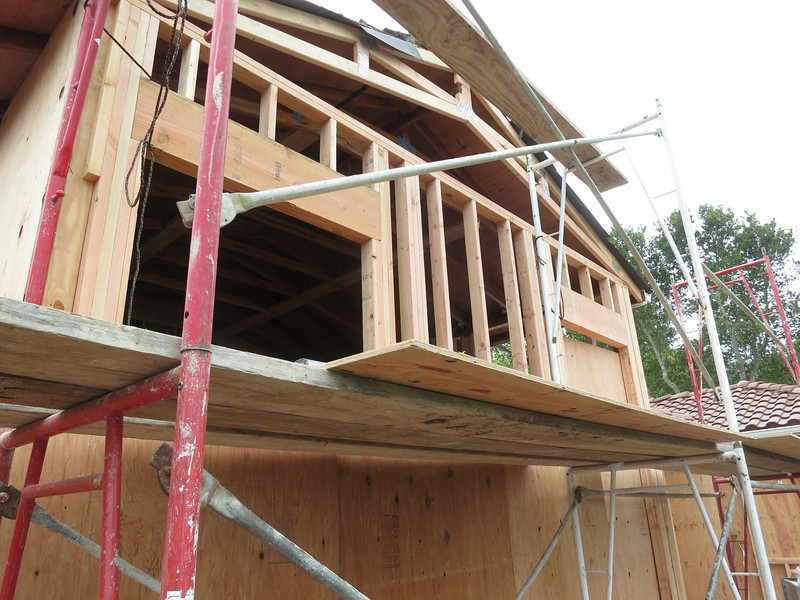 New truss and framing for the back wall of the living room.