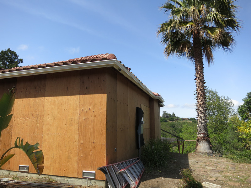 Front & side of house, with the new main panel.