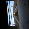 Lookup up through the hole in the deck around the new chimney