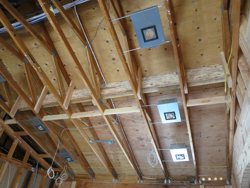 New beam in the kitchen - the trusses were uneven, with up to two inch variations!