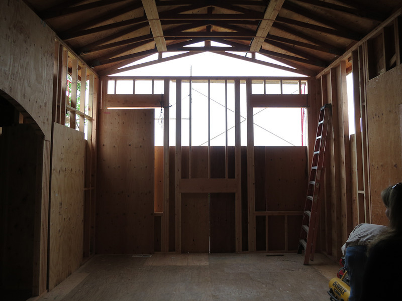 Look Ma, no back wall still, but the windows are framed.